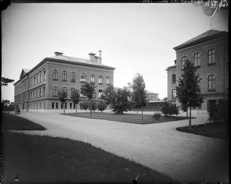Krattade gångar framför Sankt Görans sjukhus i Stockholm vid sekelskiftet.