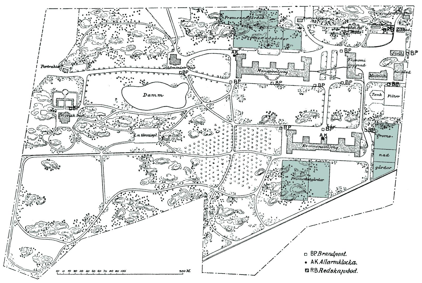 Handritad karta över Långbro sjukhus 1910-talet.